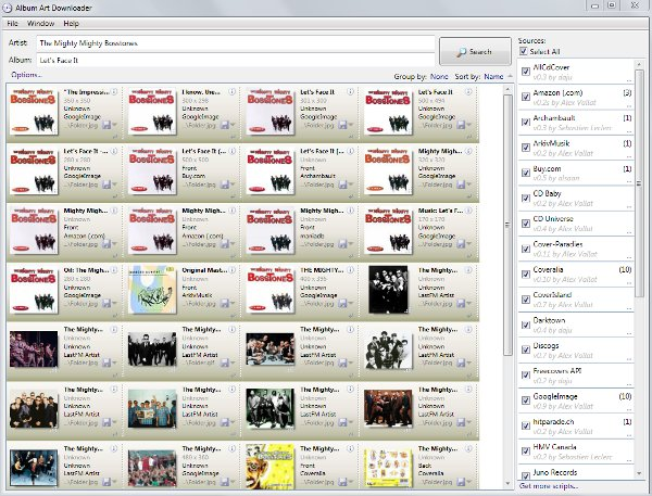 screenshot of Album Art Downloader interface
