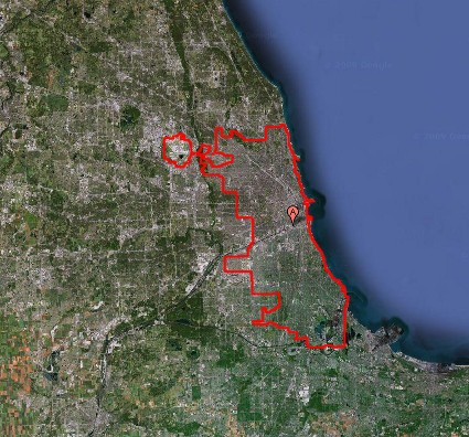 map of Chicago city limits